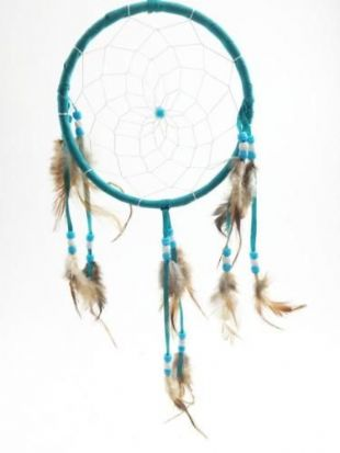 Large Blue, Red, Brown, White Feather Native American Indian Style Dreamcatcher